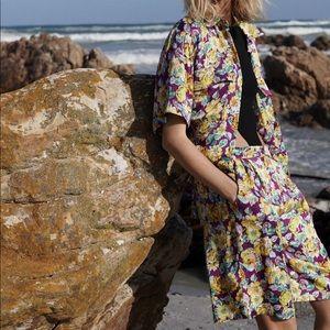 Zara floral print shirt and shorts set